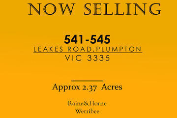 Recently Listed 541-545 LEAKES ROAD, PLUMPTON, 3335, Victoria