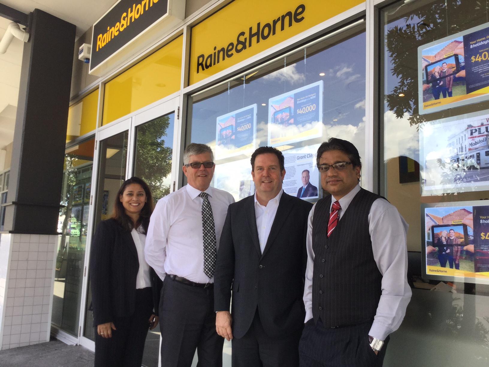 Raine & Horne Woolloongabba - Shilpa Karri, QLD General Manager Steve Worrad, Executive Chairman Angus Raine, Ram Karri